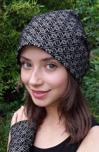 Beanie Mütze Raute schwarz weiss